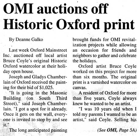 Bruce M Coyle in the Oxford Tribue, December 20-26, 2001 (b)